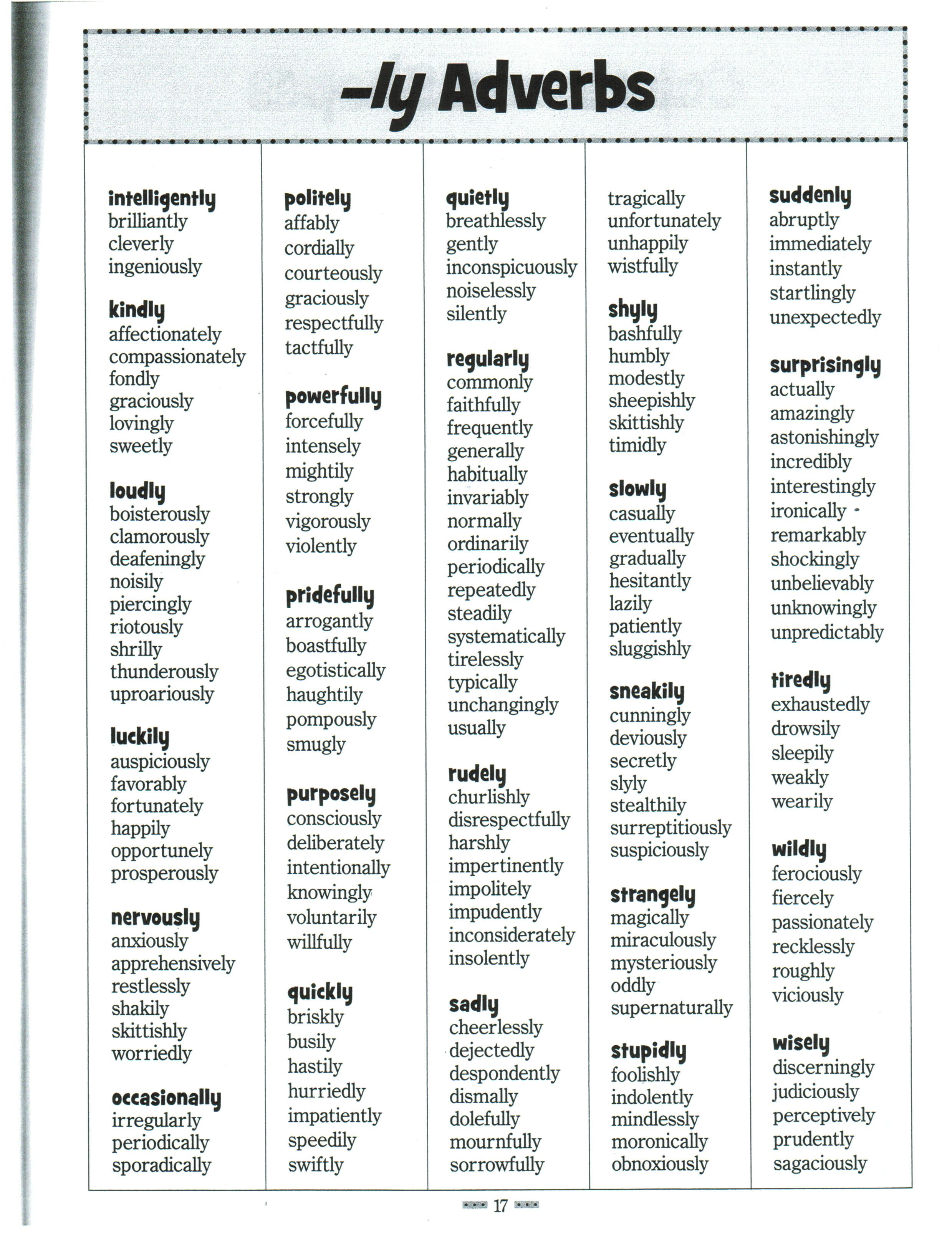 Worksheet Examples Of Adverbs Ks2 list of 100 adverbs briefs writing and image result for sensory worksheets 3rd grade