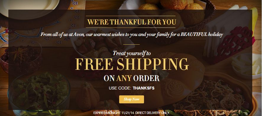 Avon happy thanksgiving free shipping code thanksfs ends