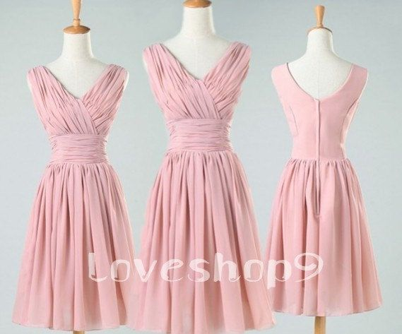 Elegant Short Pink Short Sleeves Chiffon Bridesmaid Dresses Prom Dresses Homecoming Dresses