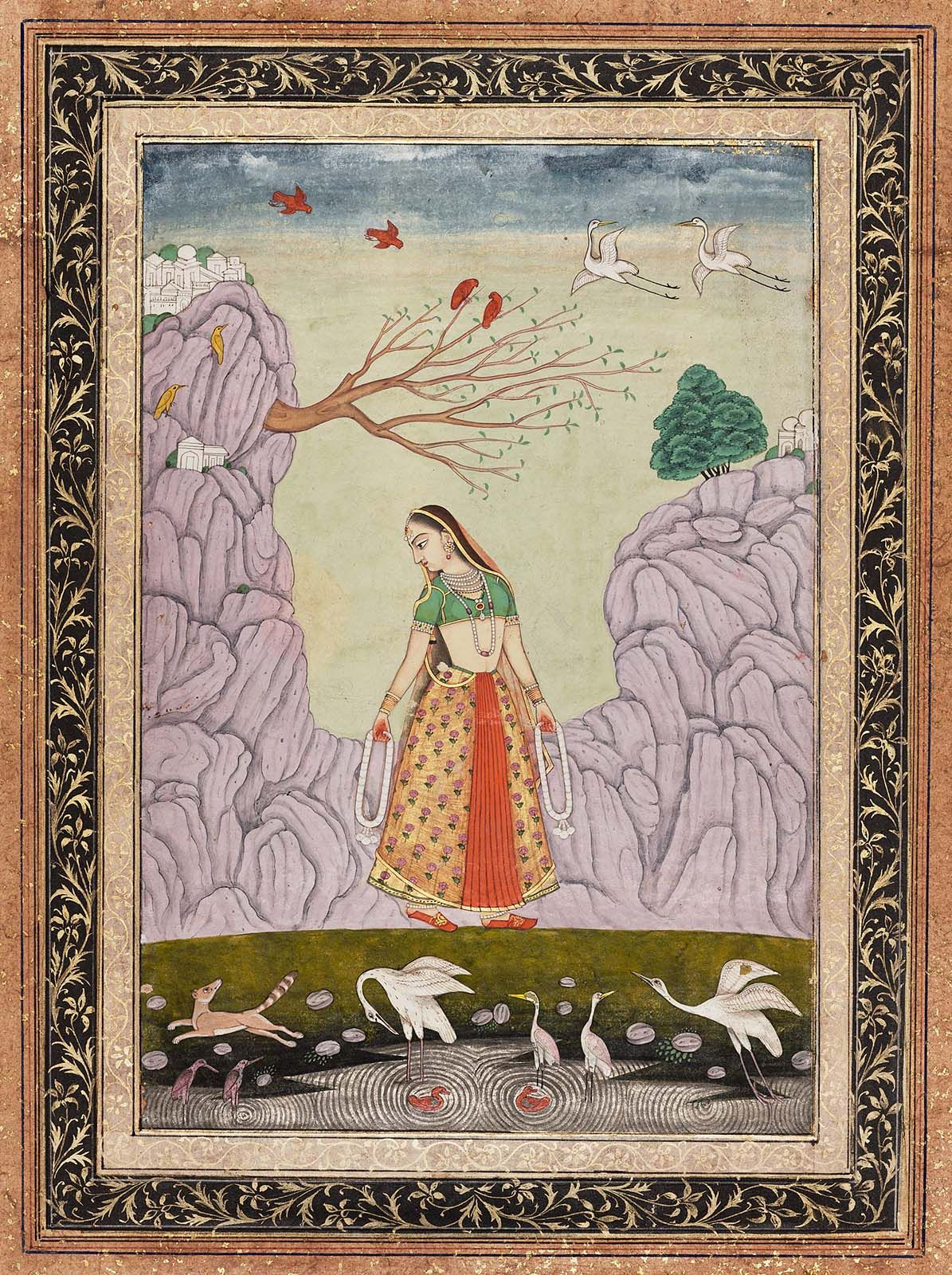 """Kakubha Ragini.    Indian, Deccani,  18th century.   Possibly Hyderabad. On reverse, in English """"no. 22."""" Pal: """"Kakubha is a handsome young woman, suffering lovesickness, leaving her fine palace she enters the forest, ... Again and again she arouses the peacock's scream, forgetting soul and body in a trance upon her lord."""""""