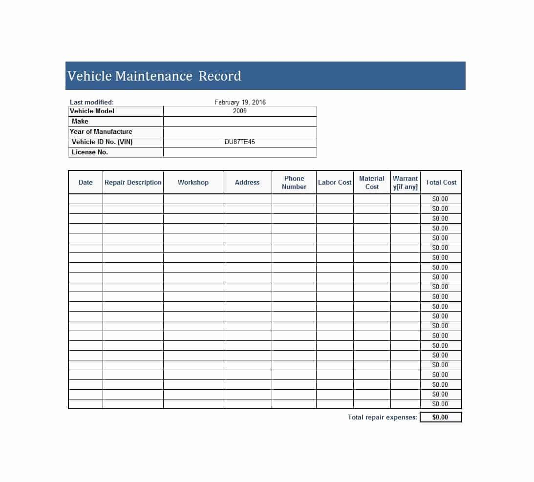 Semi Truck Maintenance Schedule Awesome 40 Printable Vehicle