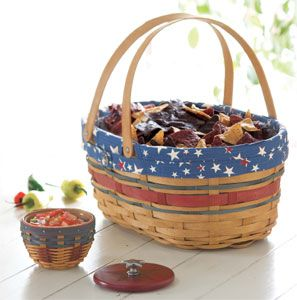 Put tortilla chips in a big basket and salsa in a smaller basket (with a protector) for a patriotic party.