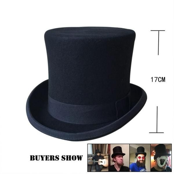 8af08893 England Style Men Top Hat 100%Wool Fedoras Mad Hatter Top Hats Traditional  Flat Top President Hat Party Steampunk Magician Cap