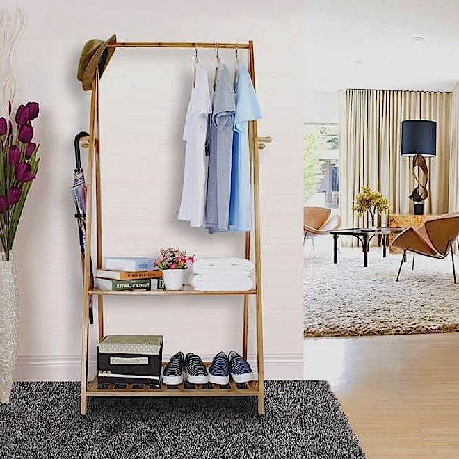 Coat Hanging Solutions hallway wooden rail clothes hanging coat stand shoe rack shelve