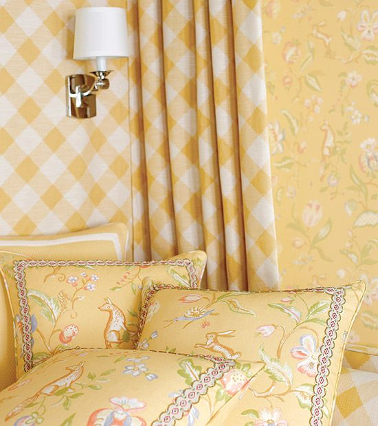 20 Chic Interior Designs With Yellow Curtains: Thibaut Gatehouse - Westchester