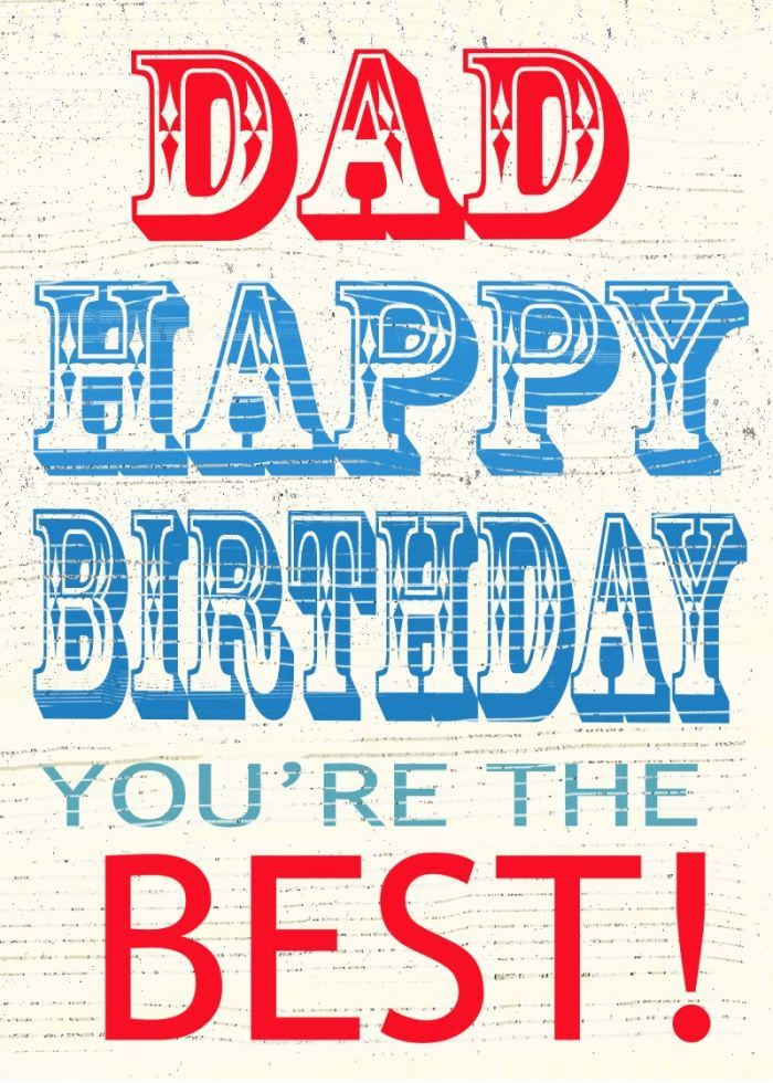 Jane Heyes vintage text best DAD Happy Birthday you're