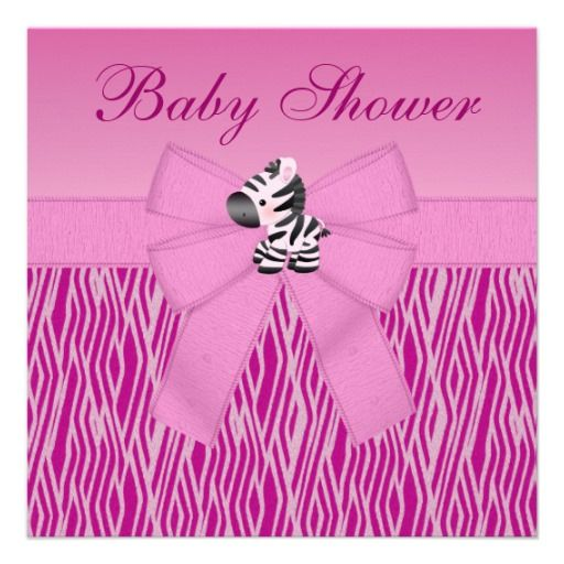 Cute Pink Zebra Animal Print Baby Shower Card Baby shower