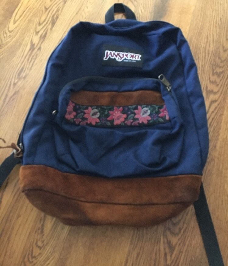 223cb9e2f3 Vintage Jansport Unisex Navy Blue Suede Bottom Backpack Floral Tapestry Bag
