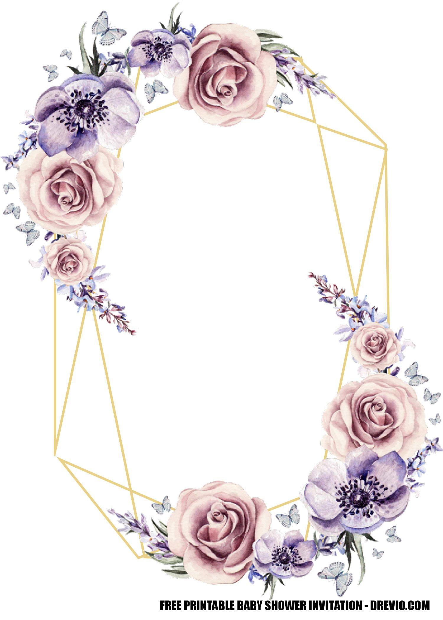 FREE Lavender Rose Wedding Invitation Templates  DREVIO  Free