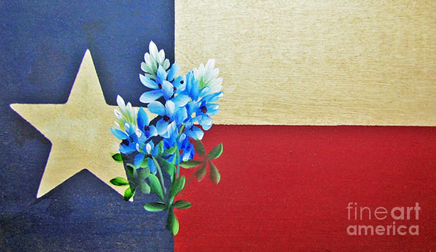 Texas Flag With Bluebonnets By Jimmie Bartlett In 2020 Texas Canvas Flower Painting Blue Bonnets