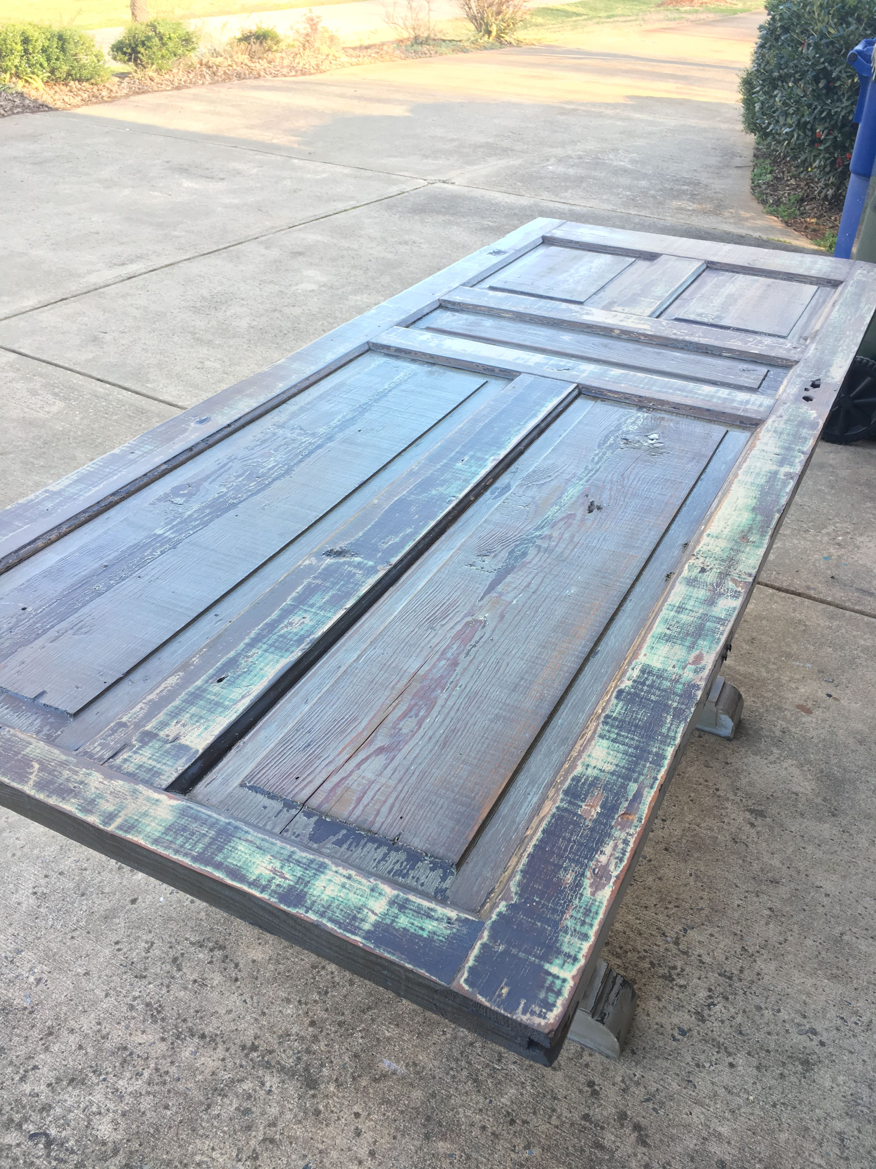 Counter height table made from old door https://www.facebook.com ...
