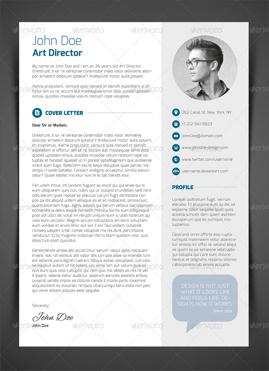 3 Piece Resume CV Cover Letter GraphicRiver Resume