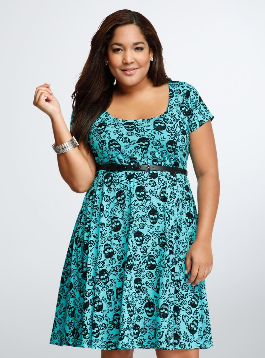 Skull Belted Skater Dress | Plus Size Dresses | fullbeauty | How to ...