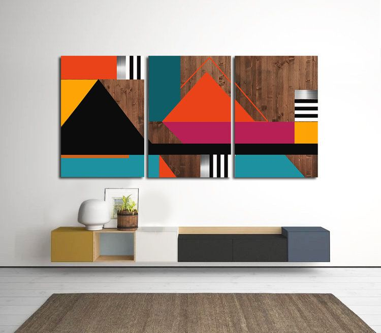 Modern Wall Art Geometric Art Abstract Multi Panel Art Etsy In 2020 Multi Panel Art Geometric Art Panel Art