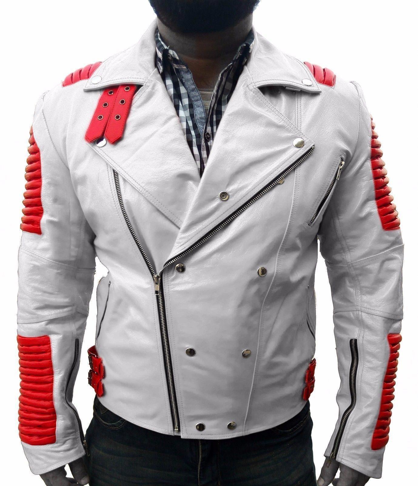 Ribbed White Leather Jacket White leather jacket mens