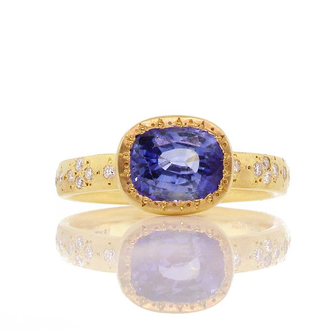 Brides.com: . Style gr207-3, ceylon sapphire diamond ring, $7,200, Adel Chefridi  See more oval-cut engagement rings.