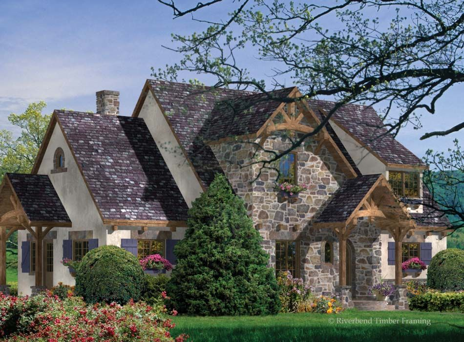 A Compact Plan with Architectural Interest. The enchanting French Country design of the Greenbrier features a blend of materials from stucco to stone and of course, timber framing to bring the charm of the European countryside to life. Learn more at: http://www.riverbendtf.com/timber-blog/compact-plans-architectural-interest/