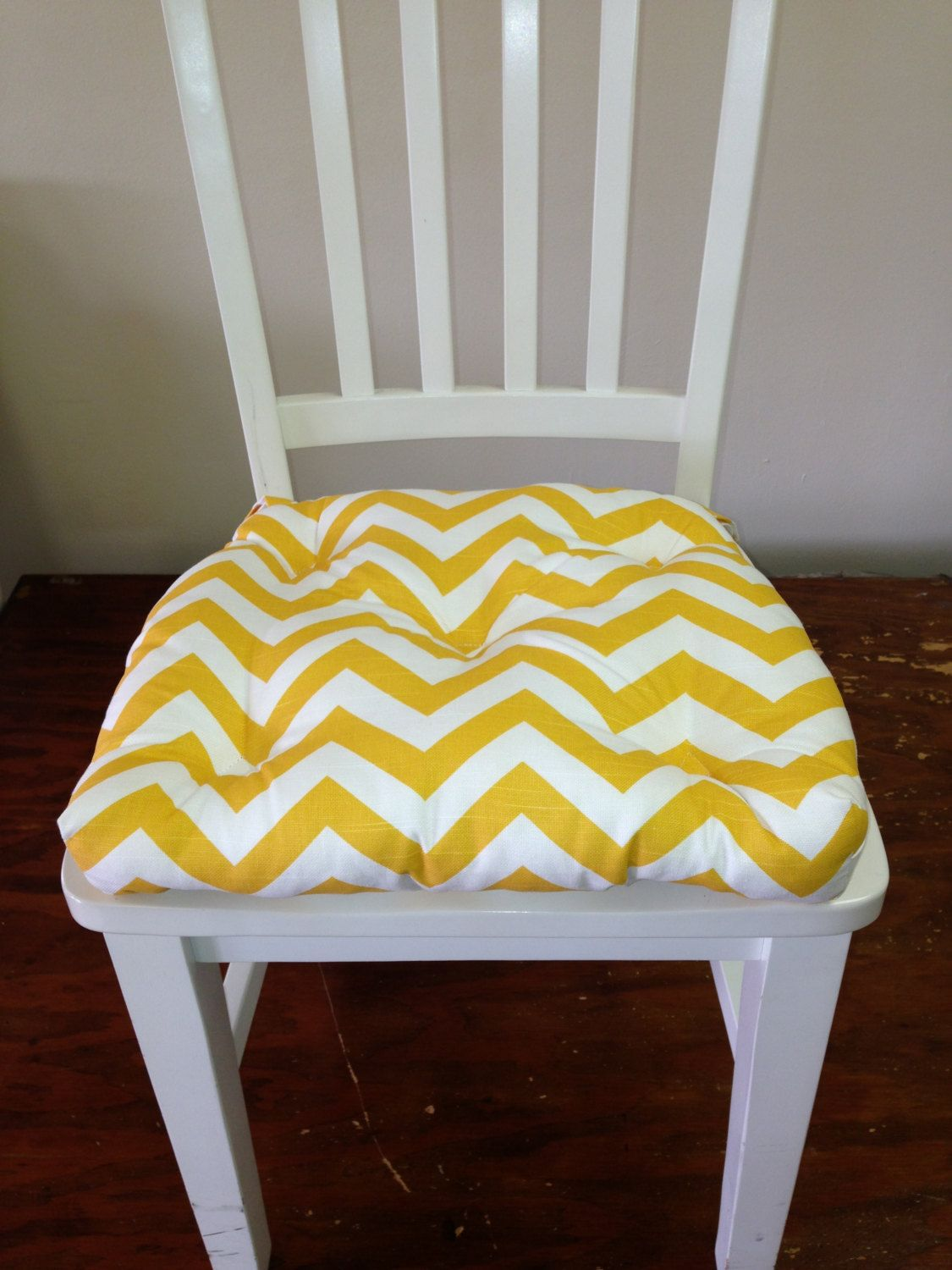 2 piece set of Rocking chair cushions, Tufted, yellow and