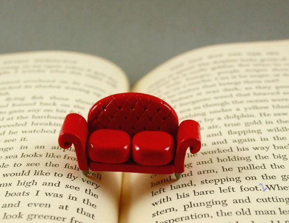 Little Red Sofa- oh how I love minature versions of things!