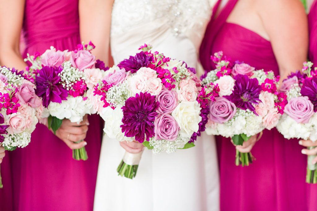 Rustic dc barn wedding with sangria bridesmaid dresses and for Magenta dress for wedding
