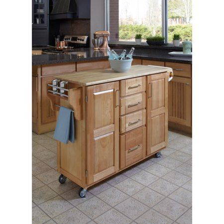 Bon Home Styles Large Kitchen Cart, Natural With Wood Top, Beige