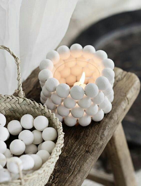 White Wooden Bead Garland