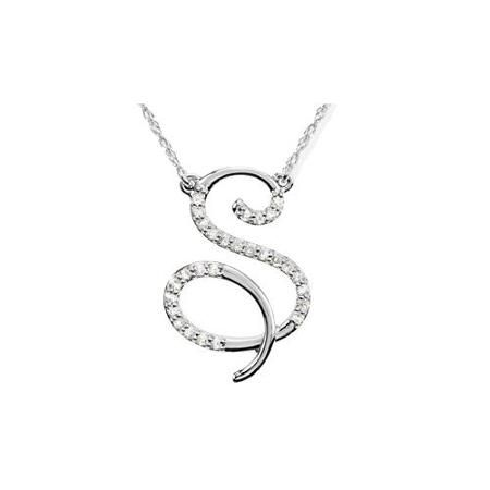 14ct diamond s initial pendant 18 necklace 14k white gold 14ct diamond s initial pendant 18 necklace mozeypictures Images