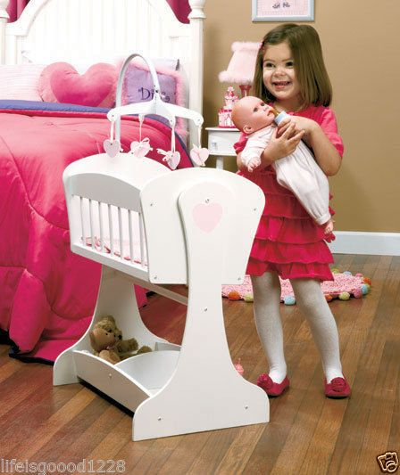 Wood Rocking Baby Doll Cradle Crib W Pink Bedding Mobile