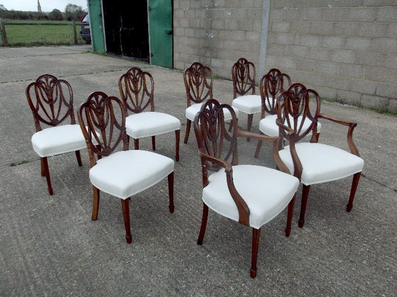 ANTIQUE FURNITURE WAREHOUSE - Antique Mahogany Dining Chairs - Set Eight 8  Georgian Hepplewhite Revival Mahogany Dining Chairs With Carvers - Antique Mahogany Dining Chairs - Set Eight 8 Georgian Hepplewhite