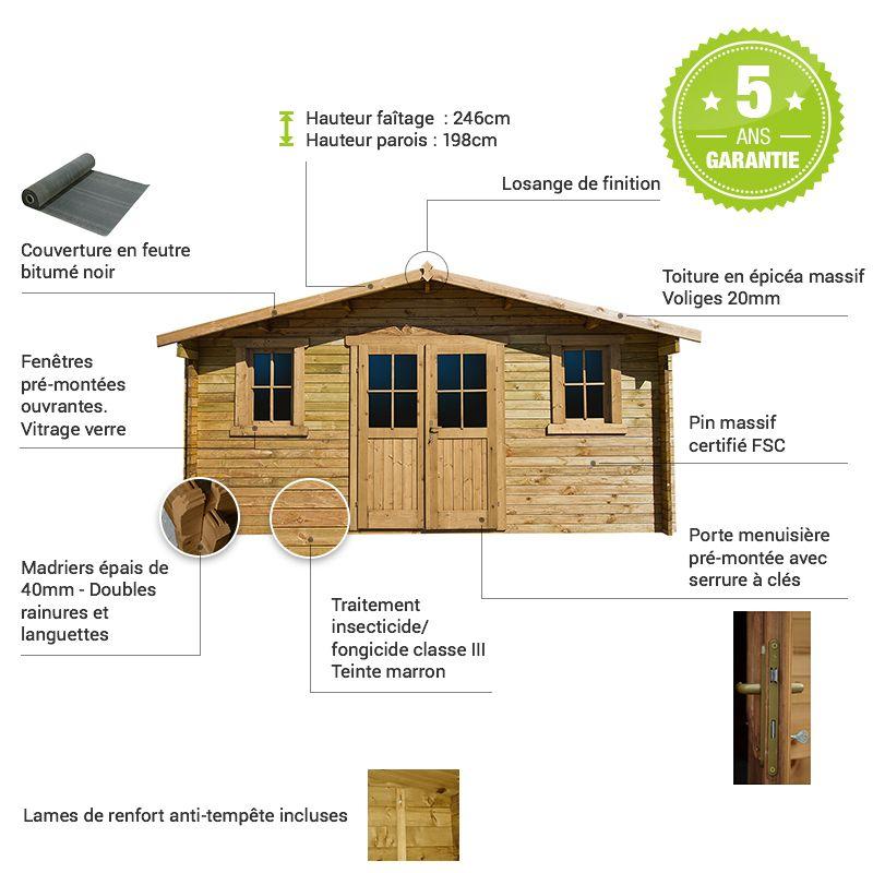 Abri De Jardin 16m Plus En Bois 40mm Traite Teinte Marron Gardy Shelter Vitrage