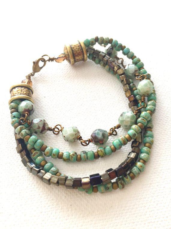 Mint and Brown Multi Strand Beaded Bracelet