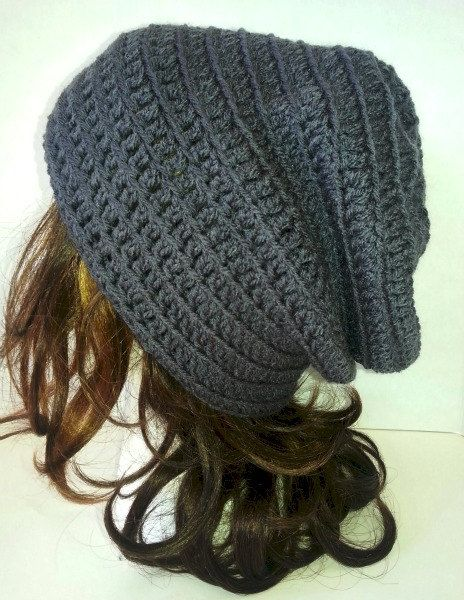Dark Grey Slouch Crochet Grey Beanie Womens Hat by YarnOverDesign ...