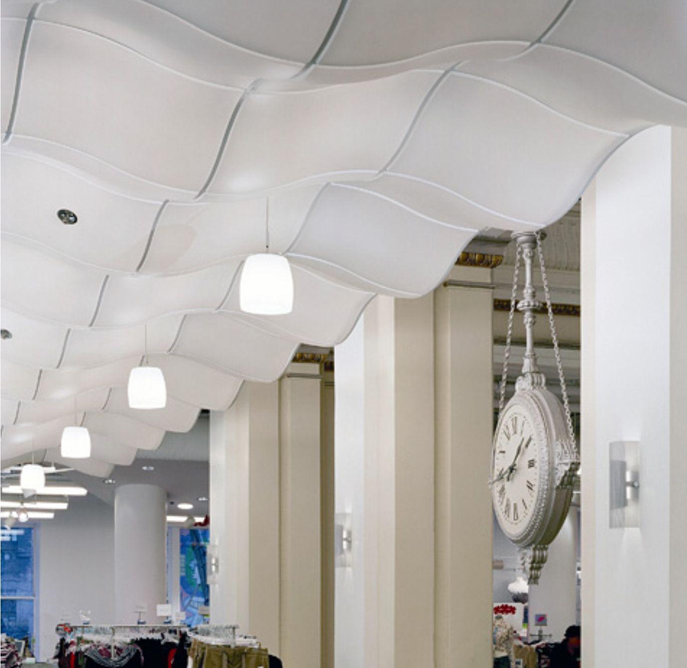 Divertido y elegante falso techo de pvc en tienda de ropa - Falsos techos pvc ...