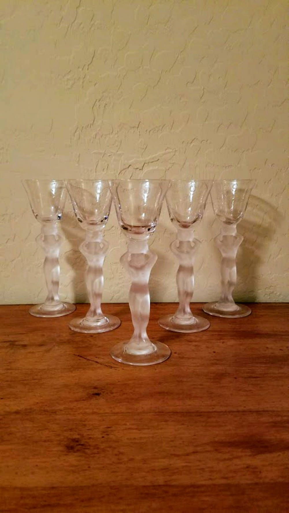 Bayel Crystal NUDE Stem Wine GLASS Satin Glass Gold