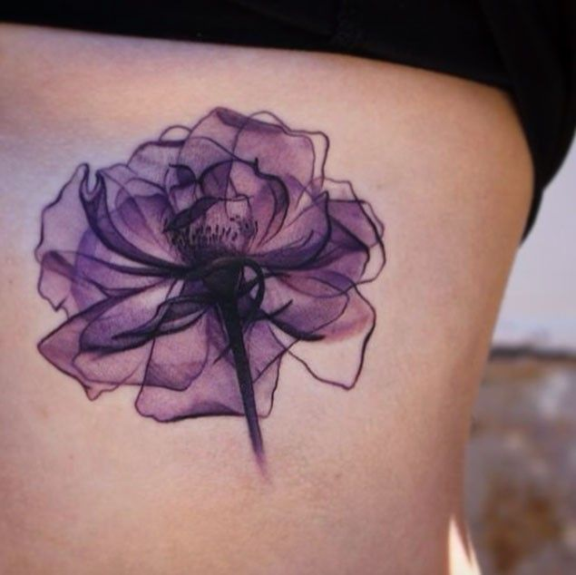 Simple Violet Colored Flower Tattoo On Side Violet Flower