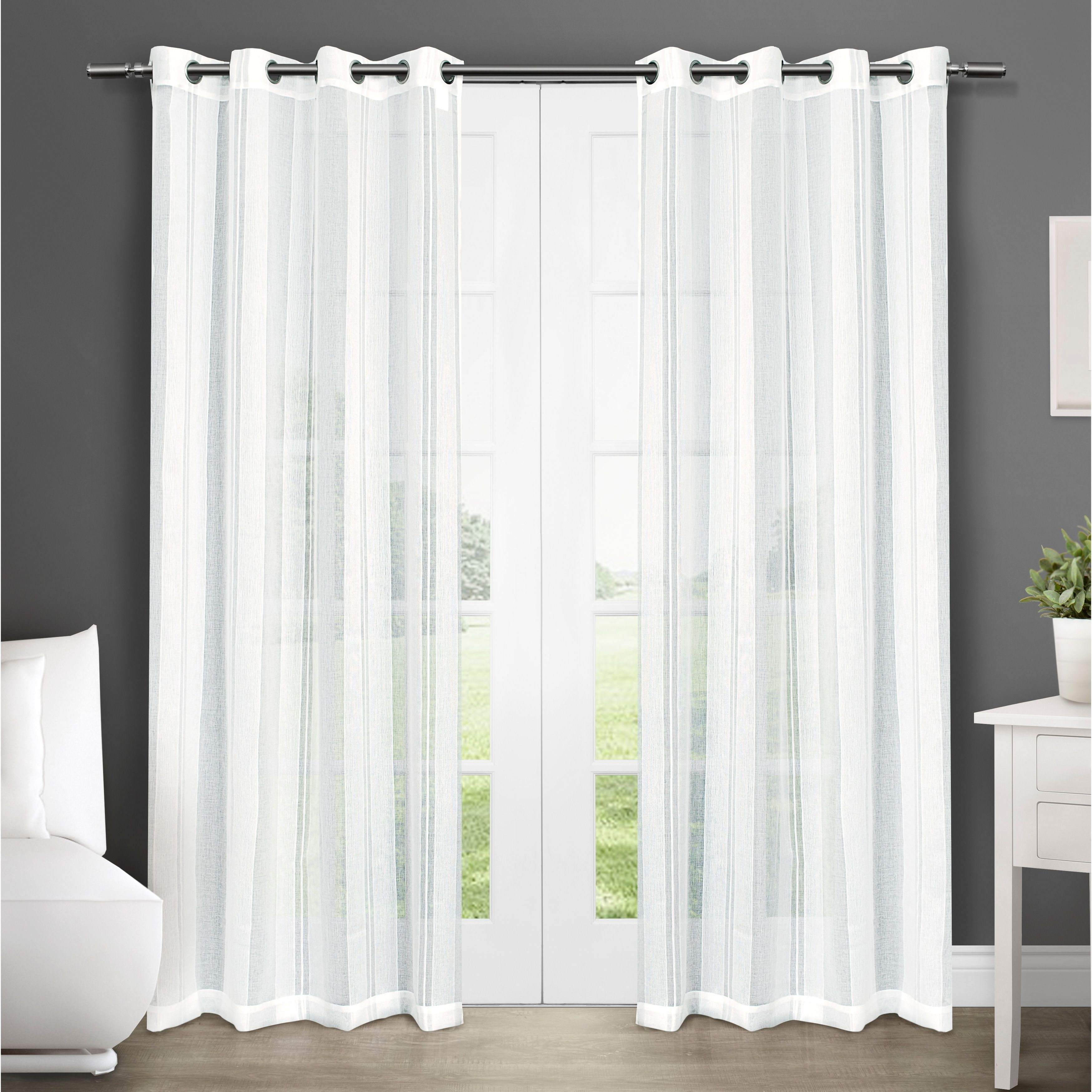 Ati Home Sheer Grommet Top Curtain Panel Pair 50x108 108 Inches
