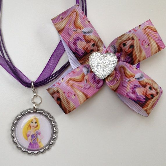 Rapunzel Princess Boutique Bottlecap Pendant and large hair bow clip with bling by OliverandMay, $9.65