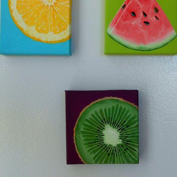 Kiwi Slice Miniature Painting Hand Painted Canvas Kitchen Art Decor Still Life Green A Diy Mini