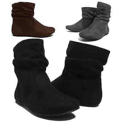 NEW Womens Short Wrinkle Slouch Ankle Boots Flat Heel ...