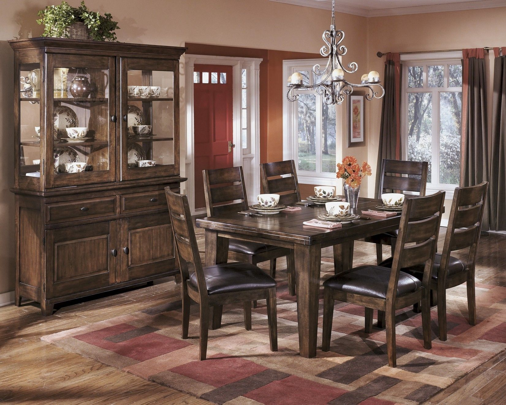 Larchmont Dining Room Buffet In Burnished Dark Brown D442 80 Ashley Ashley Furniture Dining Room Sets Ashley Dining Table Ashley Furniture Dining Room