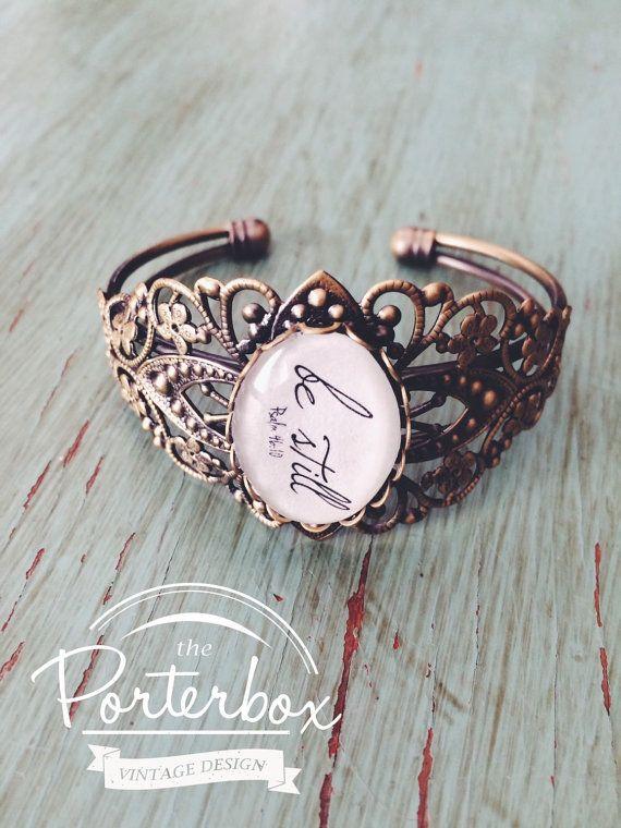 Be Still Jewelry Handwriting Scripture Bracelet Infertility Cuff Mom Birthday Adoption