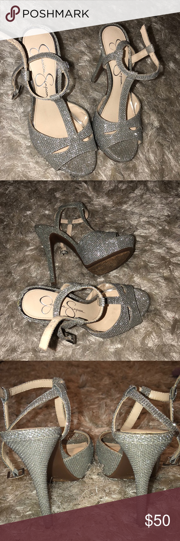 PERFECT SHOES FOR PROM Glitter look with out the glitter shedding fabulous Jessica Simpson shoes. Only wore once !! Jessica Simpson Shoes Heels