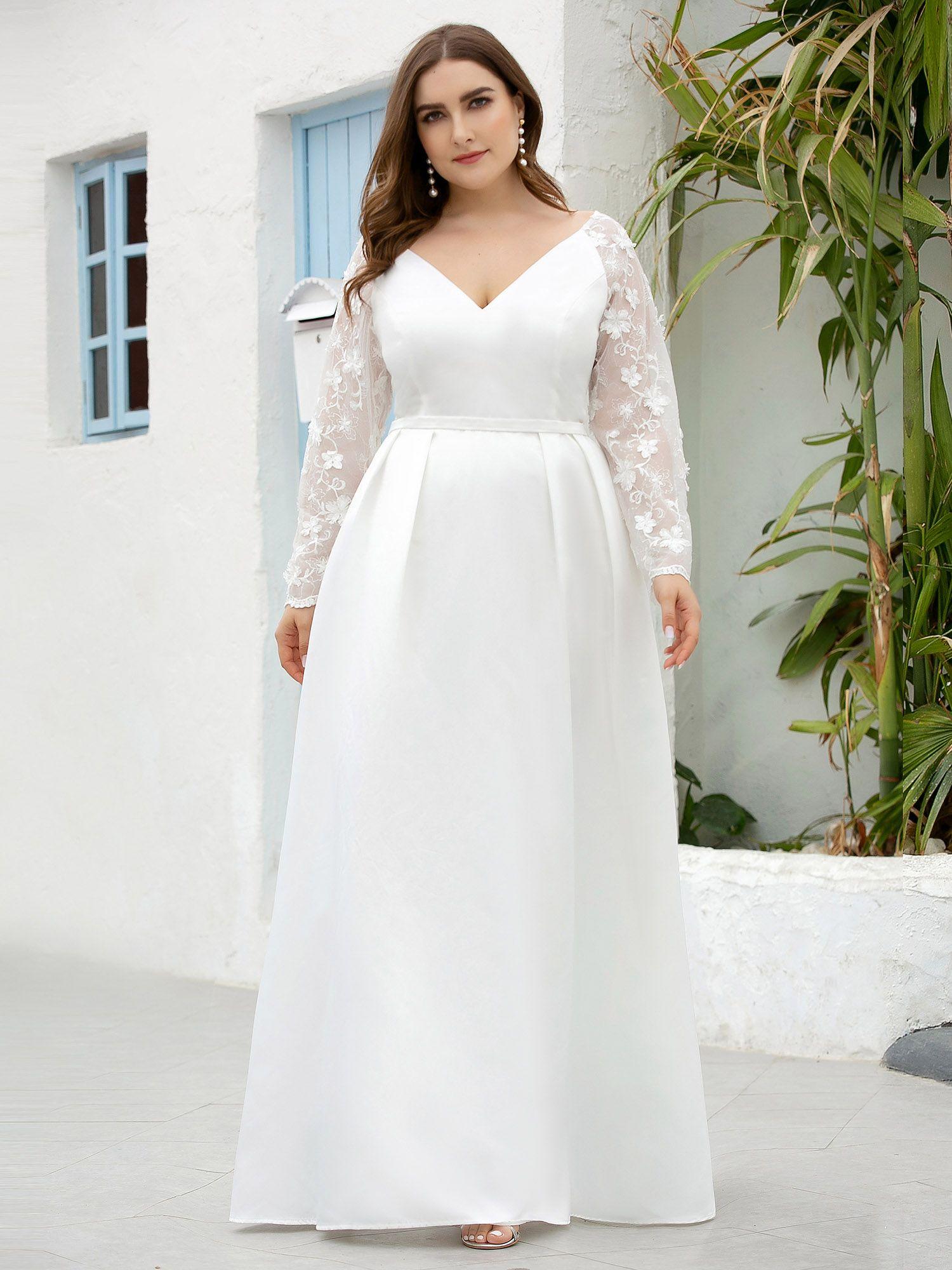 Ever Pretty Women S Floral Lace A Line Long Maxi Dress Plus Size Wedding Dress 07072 White Us14 Soft Wedding Dresses Plus Wedding Dresses Modest White Dress [ 2000 x 1500 Pixel ]