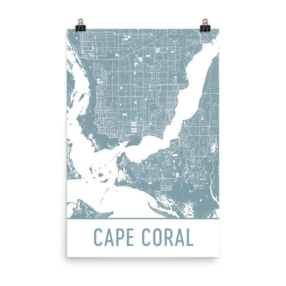Cape Coral Florida Map.Cape Coral Florida Street Map Poster Florida Maps Poster Wall And