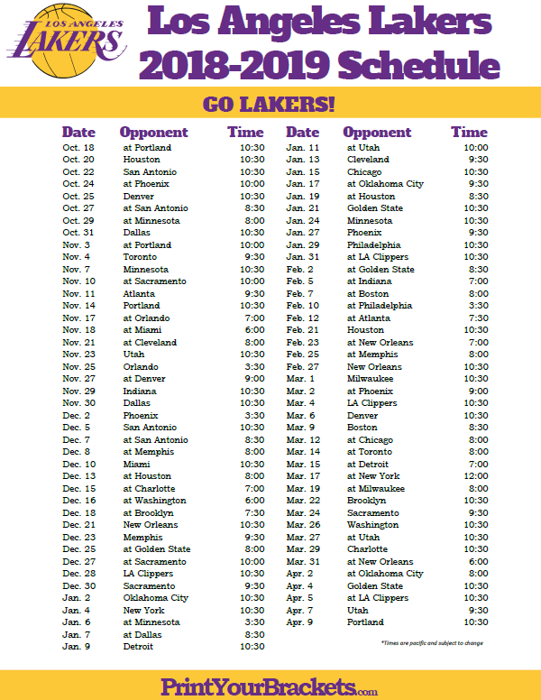 photograph relating to Lakers Printable Schedule named Printable 2018-2019 Los Angeles Lakers Routine Printable