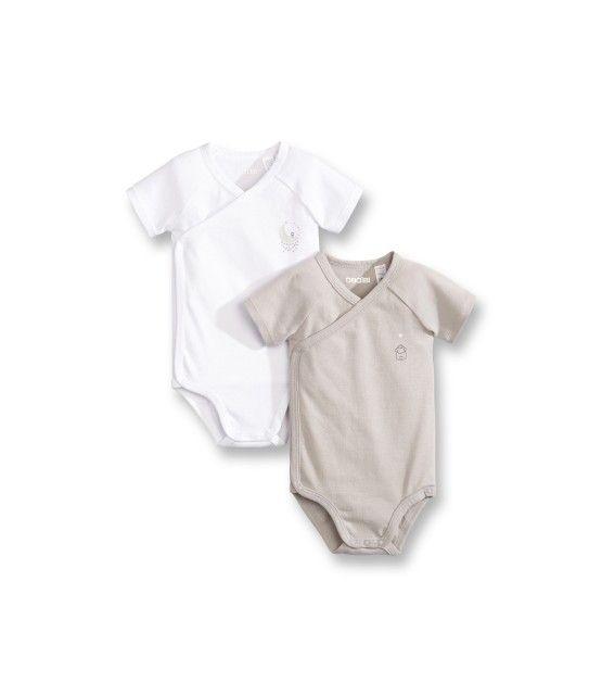 Body naissance coton bio (par 2) - Gris moyen - Bébé garçon - Obaïbi ... 740f4068e89