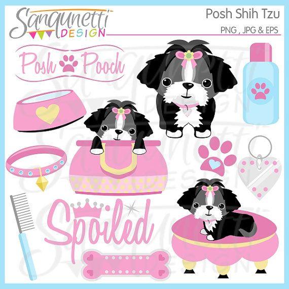 Shih Tzu Clipart Puppy Toy Dog Digital Art Instant Download Dog