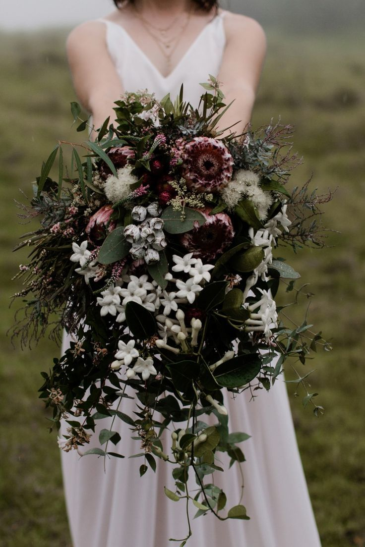 Jake lauras tamborine mountain elopement native australians moody native australian bouquet with banksia jasmine and gum blossom izmirmasajfo Image collections