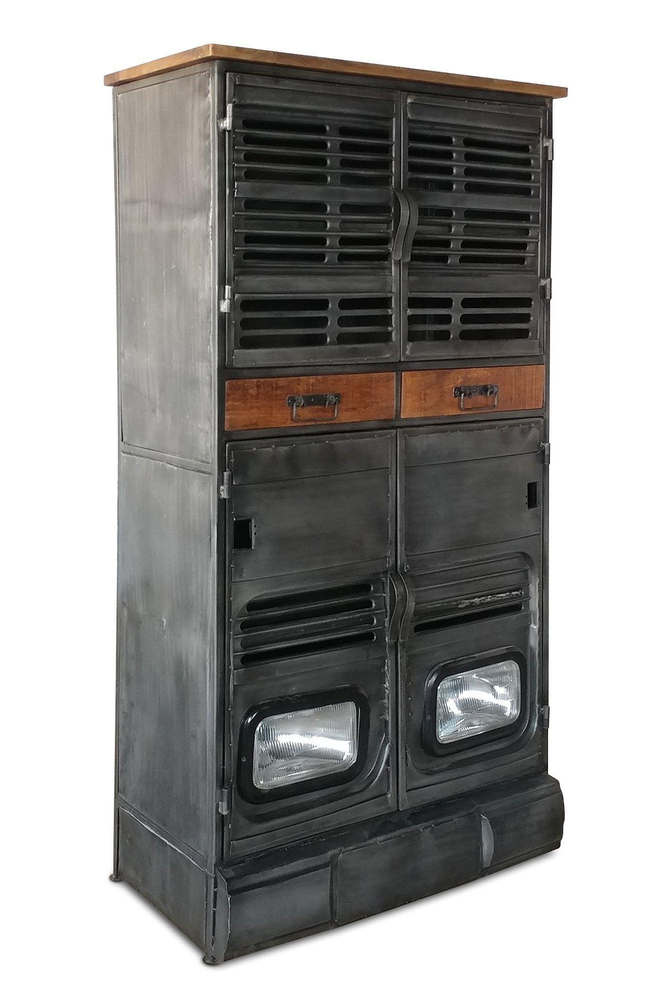 Industrial Storage Cabinet Vintage Truck Working Headlights Metal In 2020 Industrial Storage Cabinets Industrial Storage Metal Storage Cabinets