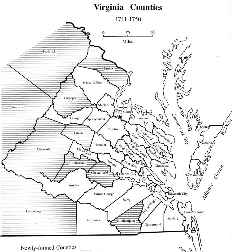 1750 map of virginia | Maps of Virginia counties 1634-1800 | Ini ...